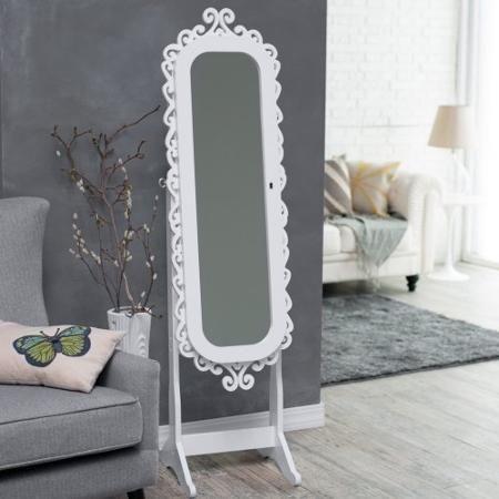 Belham Living Scroll Cheval Mirror Locking Jewelry Armoire High