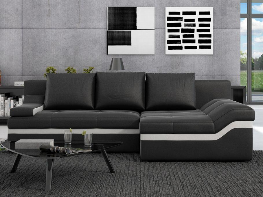 Canapé d'angle convertible AZOLA en simili - Noir - Angle droit prix promo Canapé Vente Unique 649.99 € TTC prix constaté * : 1 169 €