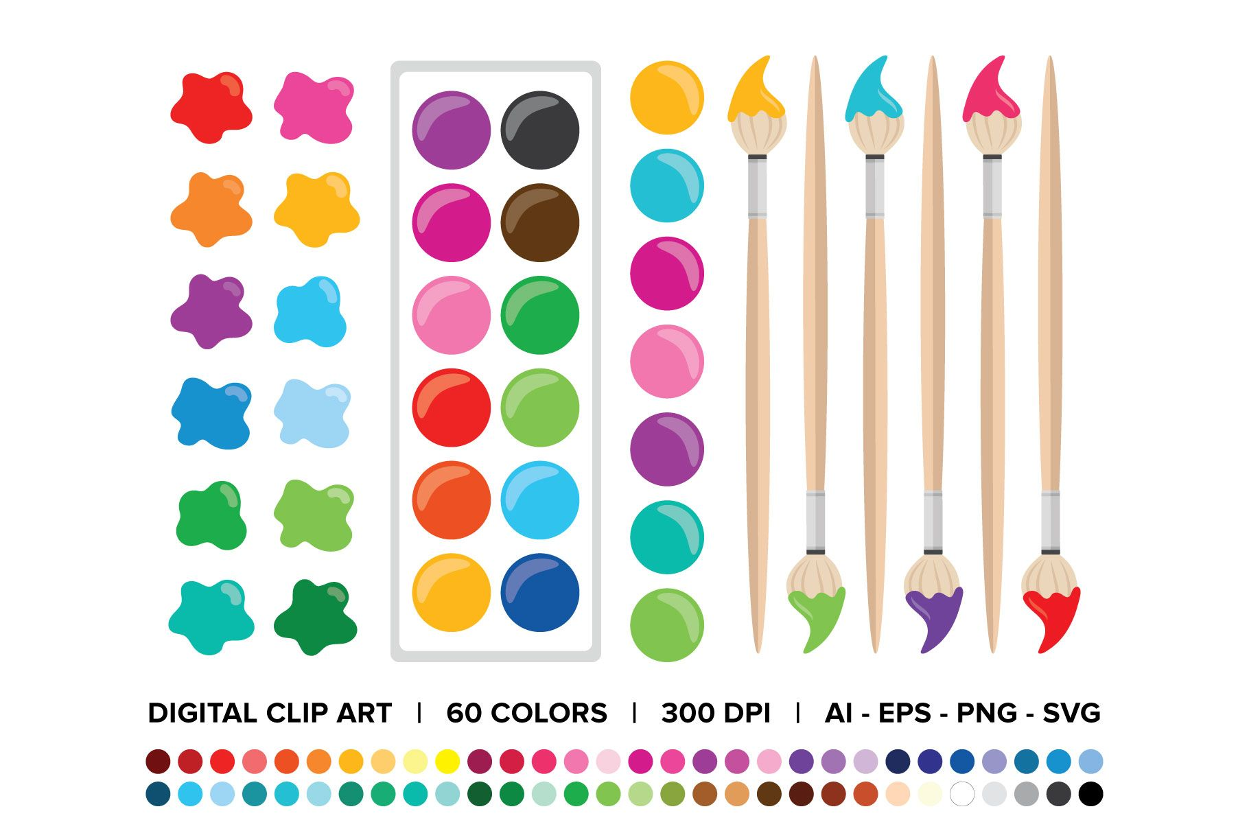 Paint Brush & Palette Clip Art Set (Graphic) by Running