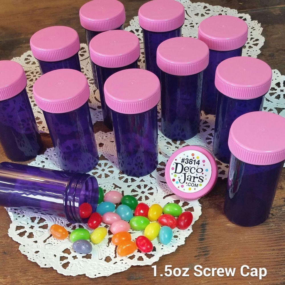20 pill bottles purple jars pink caps mcstuffins party candy favor