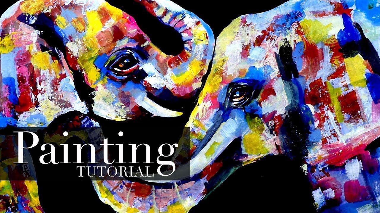 Elephants Colorful Painting Acrylic Painting Tutorial Painting Tutorial Colorful Paintings Acrylic Acrylic Painting Tutorials