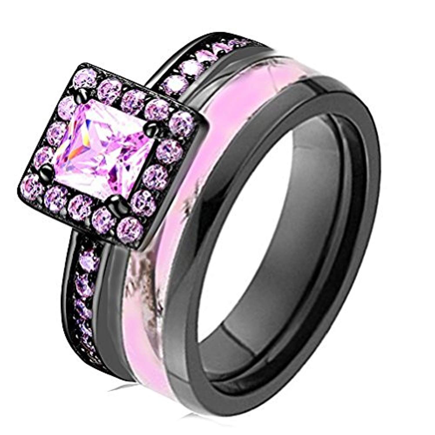 Pink Women`s Halo Black Titanium Camo and Sterling Silver