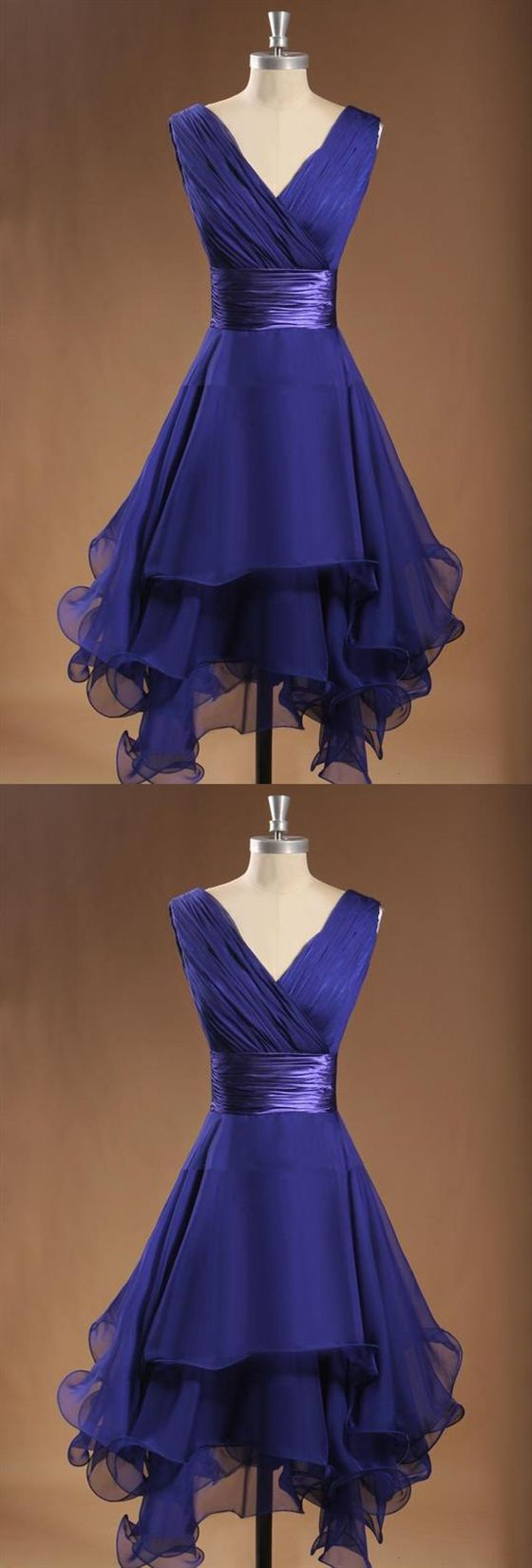 Simple V Neck Sleeveless Tiered Ruffles Chiffon Short Bridesmaid Dress #chiffonshorts
