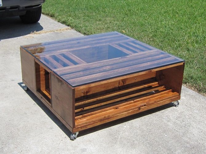 DIY Wine Fruit Wood Crate Coffee Table Free PlanGlass Top Wood