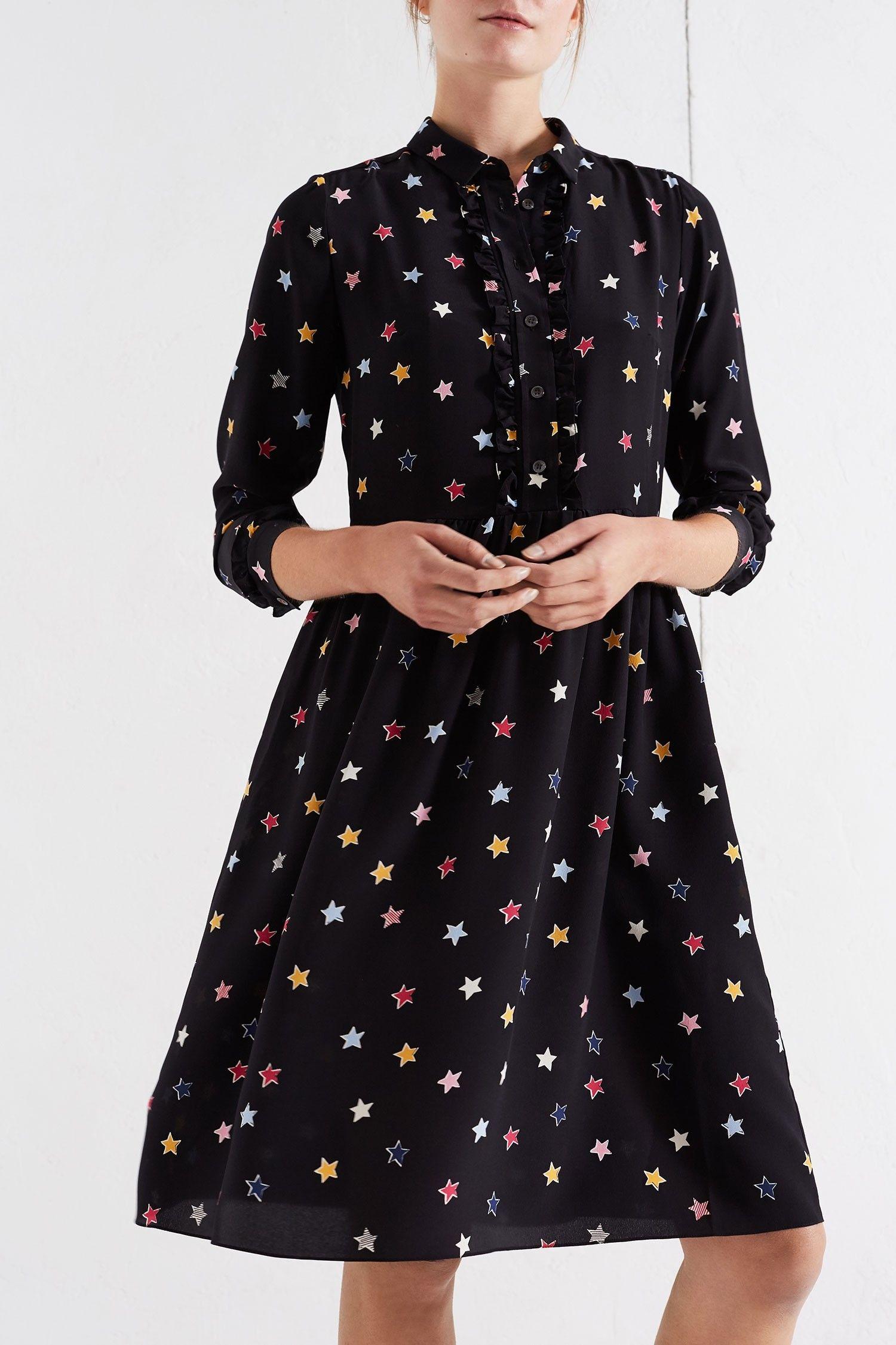 f8ba6a11cf7 Chinti and Parker Black Star Ruffle Silk Shirt Dress