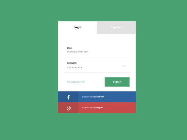 flat login page psd mockup