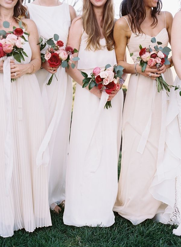 Blush bridesmaids with pink and red bouquets // jessica sloane #bridesmaidbouquets