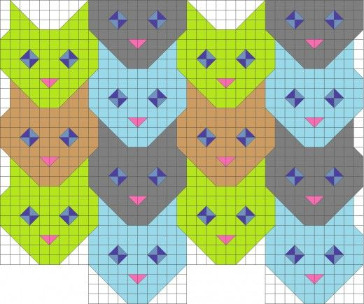 Tessellating cat face quilt pattern. | Quilting | Pinterest | Cat ... : tessellation cat quilt pattern - Adamdwight.com
