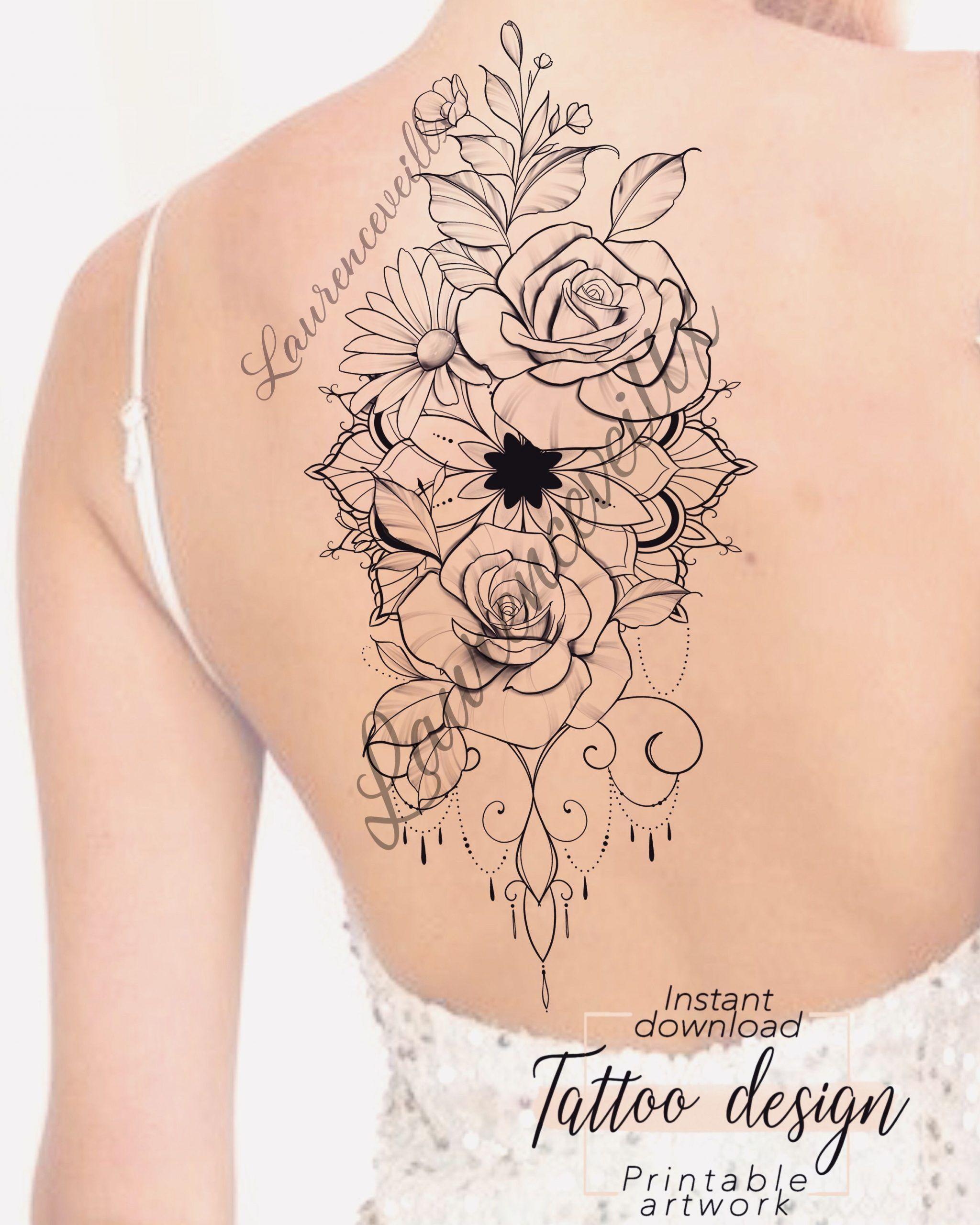 Daisy Flower Rose Mandala Unique Tattoo Design Available On Etsy Laurenceveillx Daisy Design Etsy Flower L In 2020 Tattoos Tattoo Designs Unique Tattoos For Women
