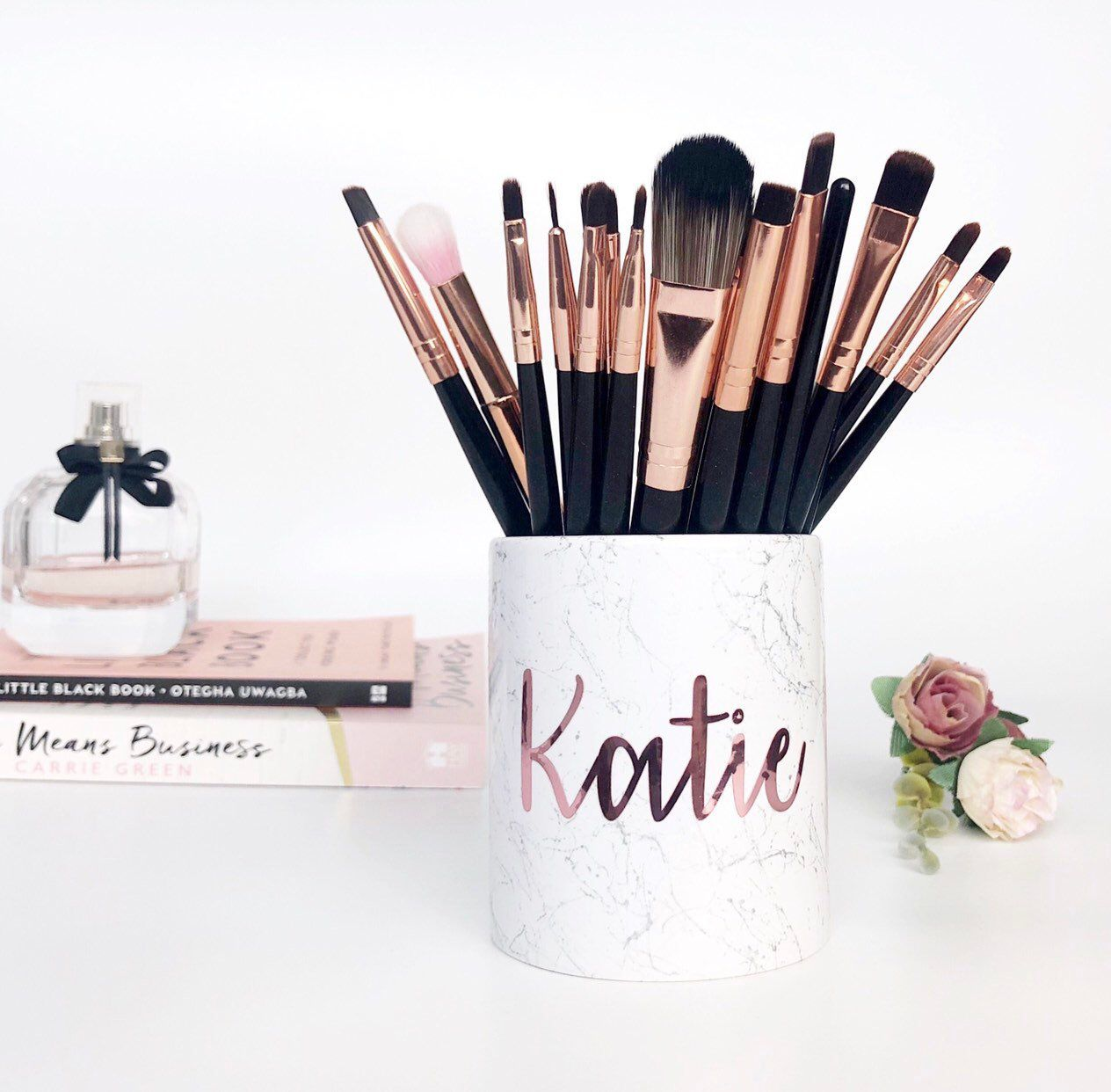 Rose Gold BRUSH HOLDER personalised makeup brush pot