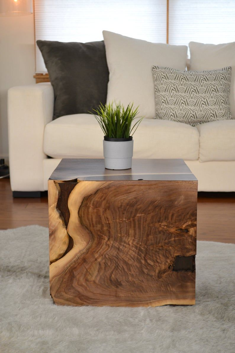 Unique Walnut Accent Cube Coffee Table In 2021 Cube Coffee Table Coffee Table Coffee Table Wood