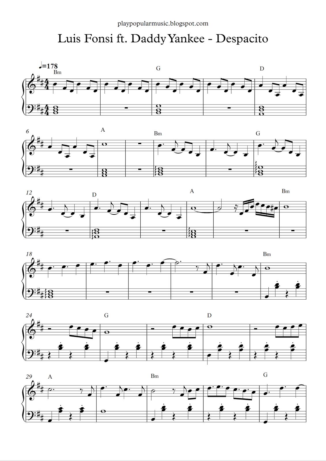 Free Piano Sheet Music Luis Fonsi Ft Daddy Yankee