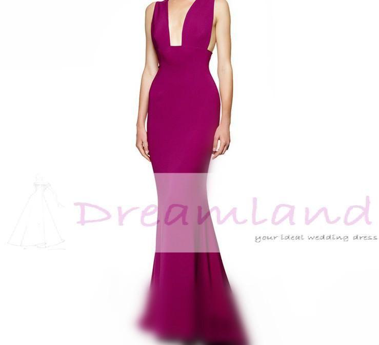 Long Evening Dresses Australia Violet Puple Thigh Sheath Plunging ...