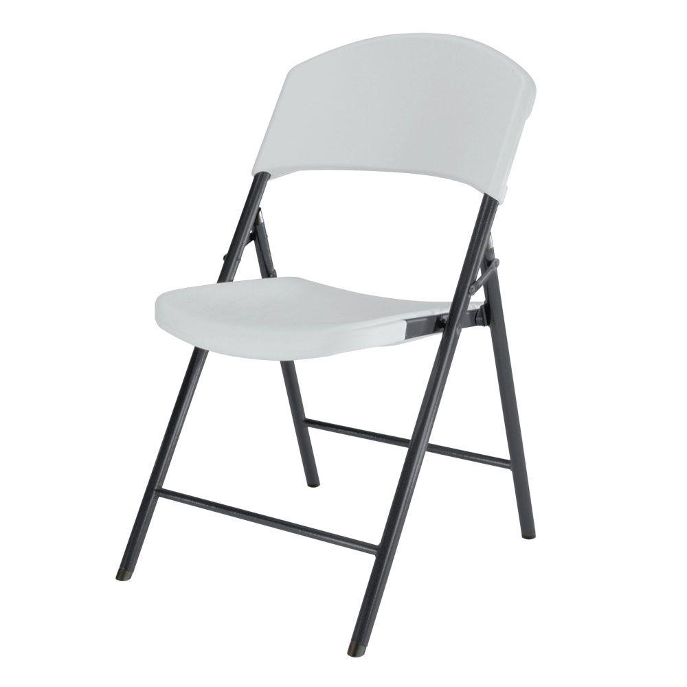 Lifetime White Plastic Seat Metal Frame Outdoor Safe Folding Chair