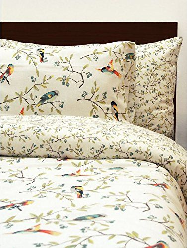 I love brushed cotton. So cosy! I love the design; very William Morris. If only it weren't £52! I will have it someday though! M&Co Cosy And Warm Floral Bird Print 100% Brushed Cotton Bedding Duvet Cover Set Green Sb: Amazon.co.uk: Kitchen & Home