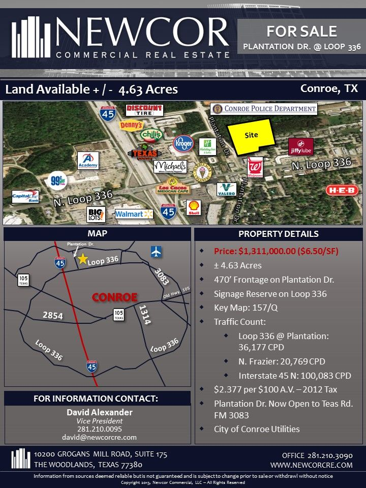 Land For Sale 4 63 Acres N Loop 336 I 45 Conroe Tx Contact David Alexander For More Information 281 2 Land For Sale Acre Commercial Real Estate