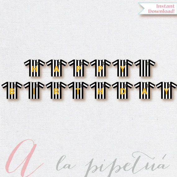 Soccer flag. Soccer birthday flag. Soccer banner. Soccer printables. Juventus printables. Happy Birthday flag. Boy soccer flag.