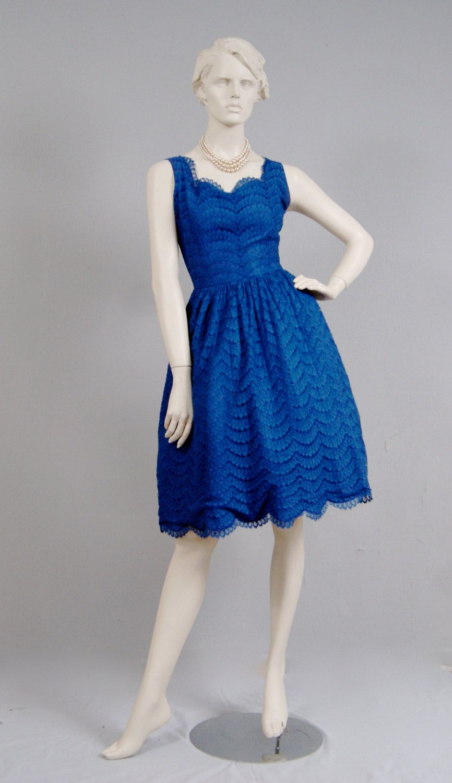 Vintage original s navy blue scallop edge lace bridal bridesmaid