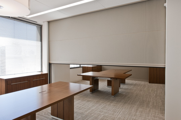 meeting room wall dividers. frosted glass room divider with two