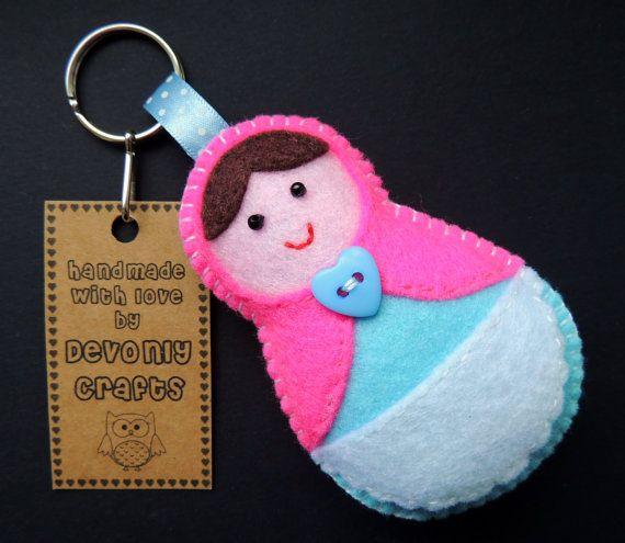 Matryoshka Babushka Russian Doll Felt Keyring by DevonlyCrafts, £4.50
