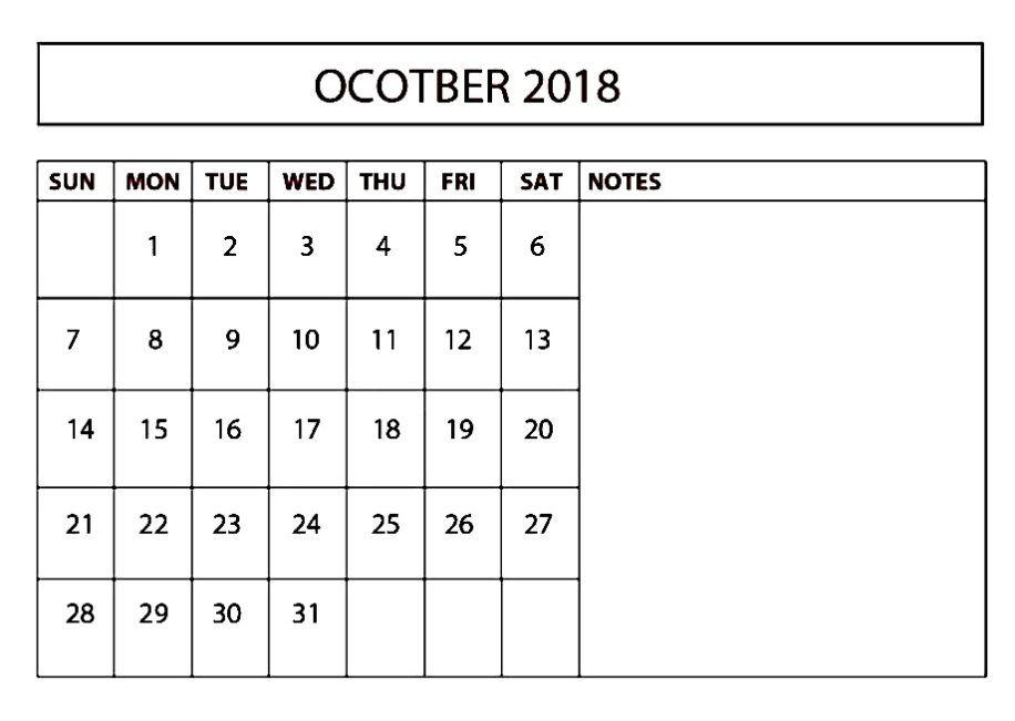 Print October 2018 Calendar Excel Calendar for October 2018