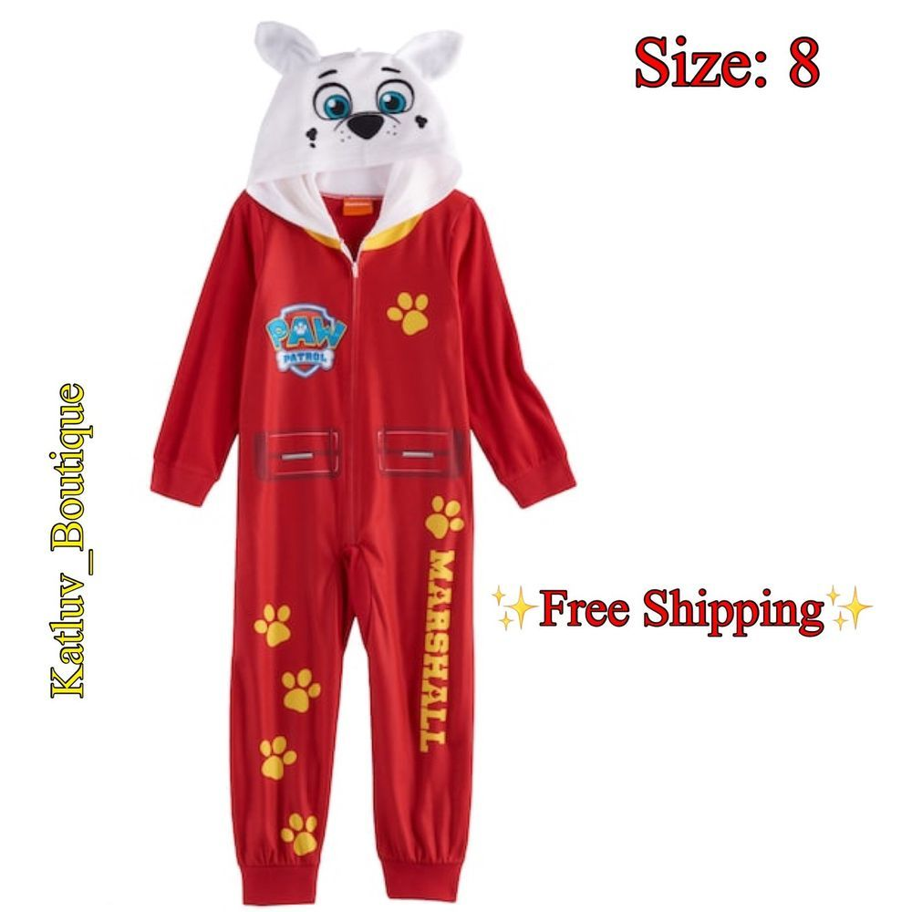 Nickelodeon Paw Patrol Hooded Blanket Union Suit Pajama Boy Size 8