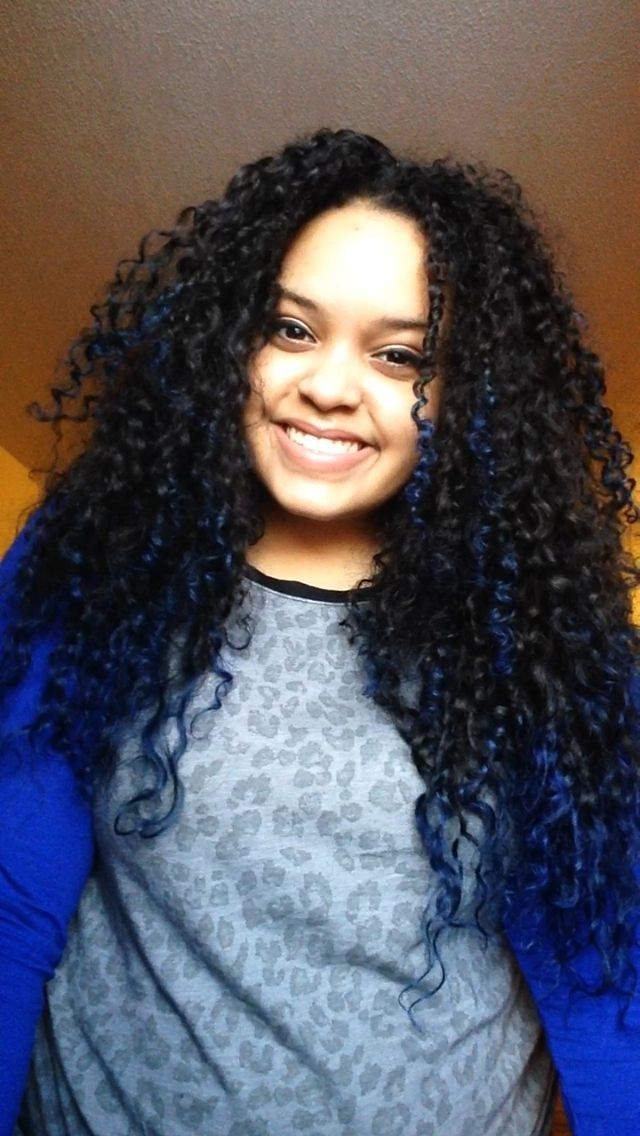 Blue Tips Natural Curly Hair Ombre Hair Color Curly