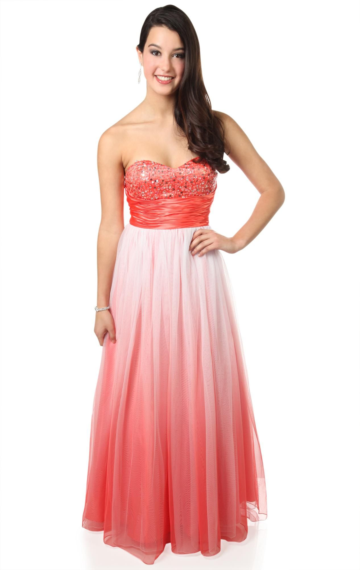 Deb Shops strapless #ombre glitter long #prom #dress with ball gown ...