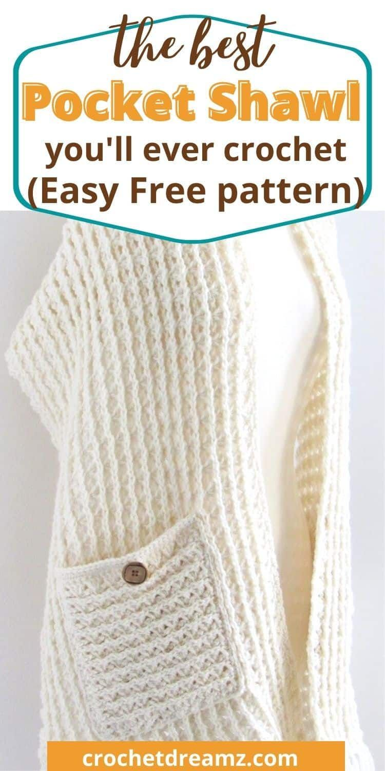 This free crochet pocket shawl will be your new favorite Christmas gift. The beginner friendly wrap pattern with pockets will not just keep your warm but stylish too. #crochetpocketshawl, #crochetpocketwrap, #perfectpocketshawl, #freecrochetpocketshawl