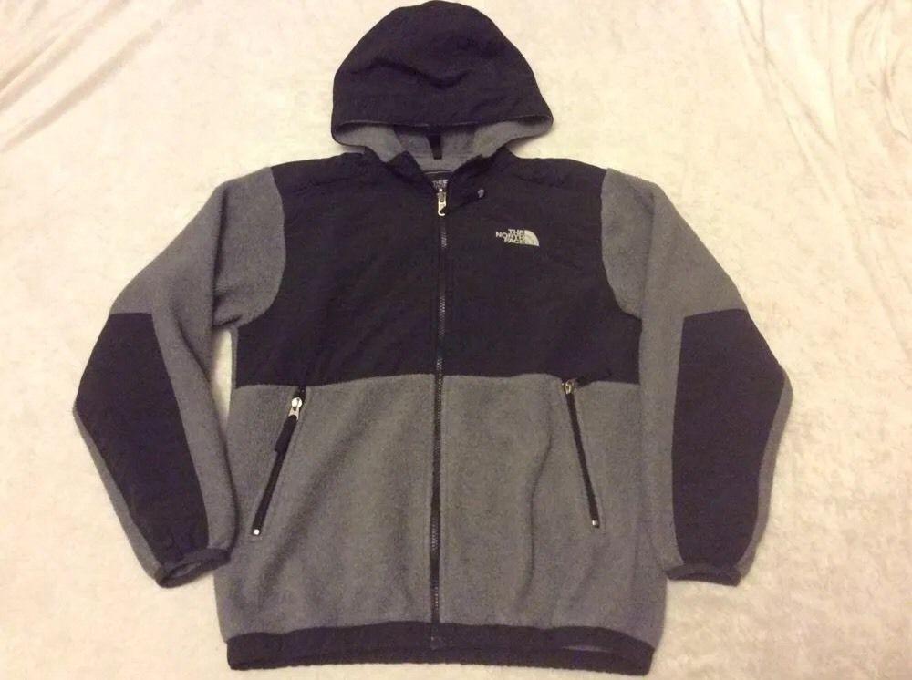 987125b409d26 The North Face Denali Jacket Boys Large Grey Black Hooded Fleece  #TheNorthFace #FleeceJacket