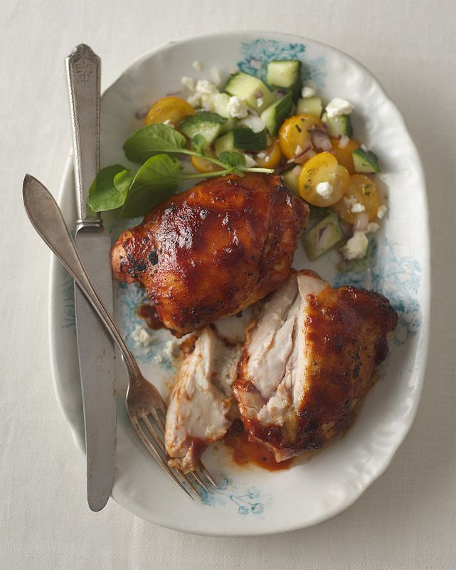 GRILLED CHICKEN THIGHS WITH ROASTED GARLIC LEMON BARBECUE