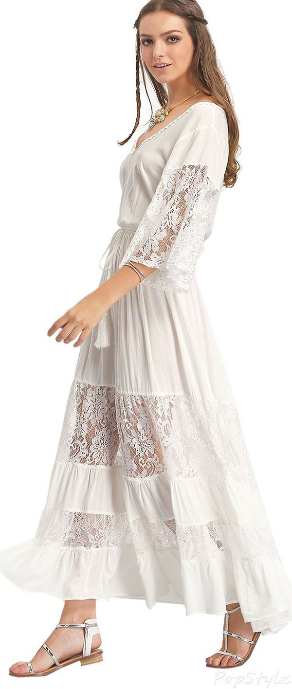 Mother of the groom dresses afternoon wedding  Milumia Bohemian V Neck Lace Maxi Dress  looks  Pinterest  Lace