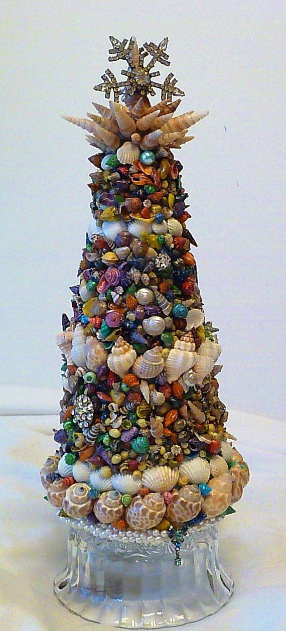 Coastal Seashell Topiary Christmas Tree Tabletop by mosaicwhimsey