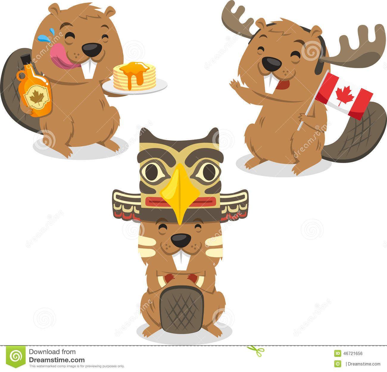 hawiian beaver canadian beaver holding canada flag illustration