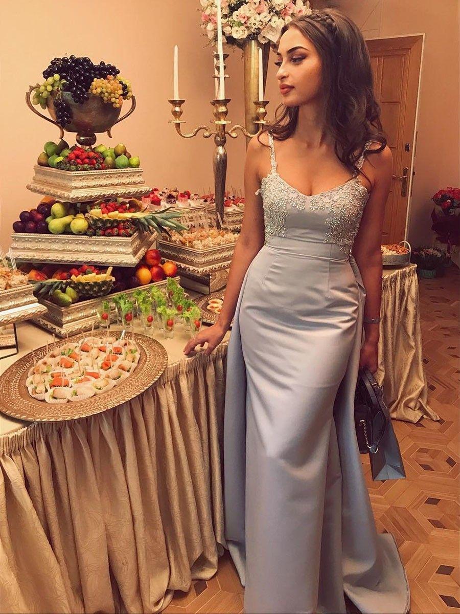 Charming mermaid sweetheart spaghetti straps light grey satin prom