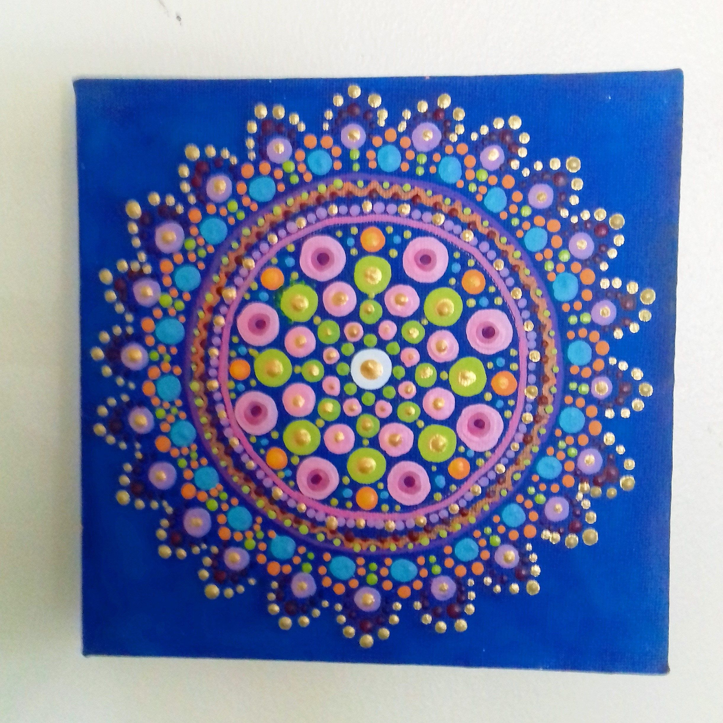 Wall Art Mandala Blue Turquoise Gold Psychedelic Original  # Muebles Tassone