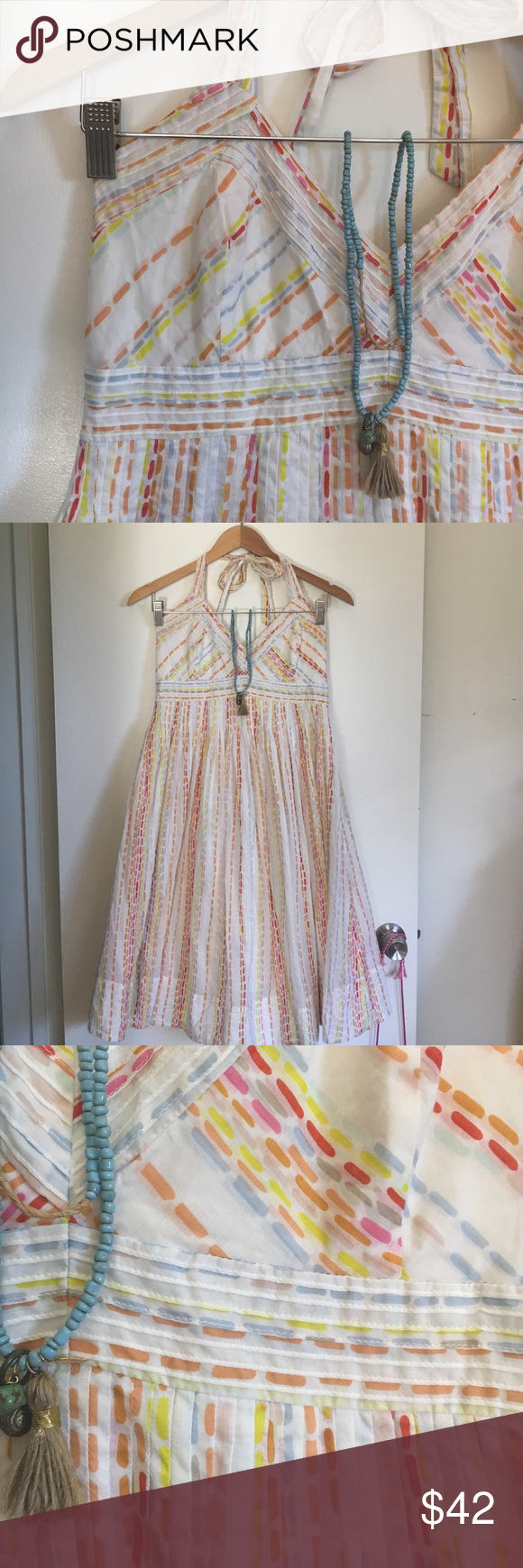 Beautiful Cotton Halter Dress. Lined Beautiful Cotton Halter Dress. Lined. Perfect for spring or summer. Super soft. Worn once! Zipper in back. Tie at back of neck. Anthropologie Dresses