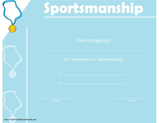 A certificate of sportsmanship adorned with a gold medal on a a certificate of sportsmanship adorned with a gold medal on a ribbon free to printable certificatesaward certificatesstudent awardsphysical yadclub Images