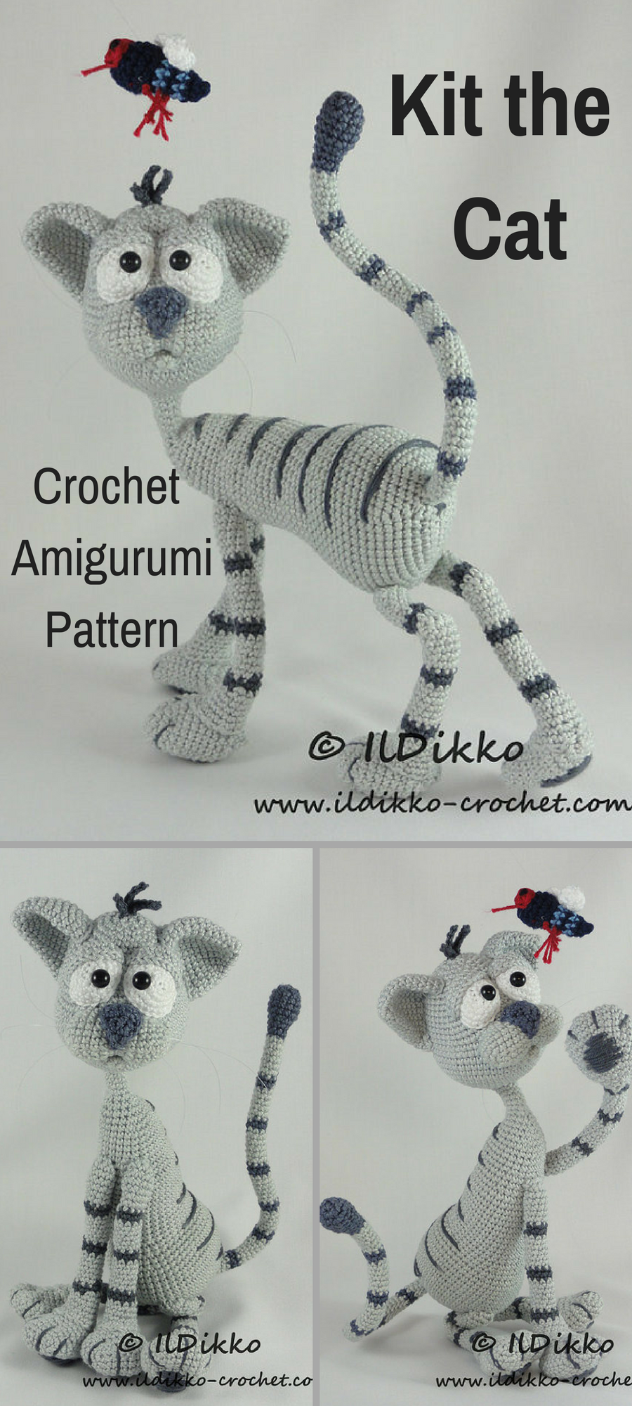 Kit the Cat is a sweet crocheted amigurumi doll that would love to ...