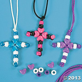 Beaded cross necklace craft kit ece crafts for kids pinterest beaded cross necklace craft kit aloadofball Choice Image