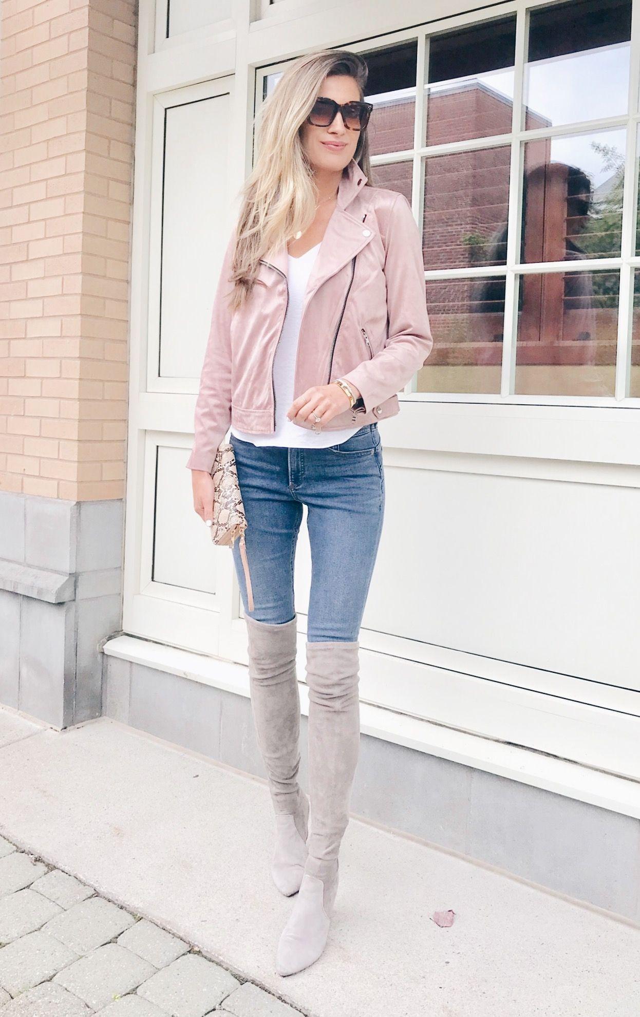 Fashion Blogger Wearing Loft Rosy Pink Mauve Faux Suede Moto Jacket Pink Moto Jacket Pink Jacket Outfit Blush Leather Jacket