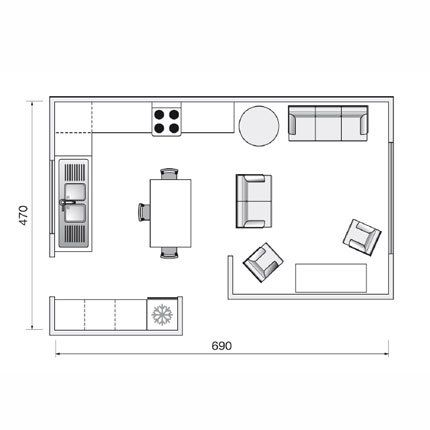 Plan de cuisine de 32m2 endroits visiter pinterest for Amenagement salon 30m2