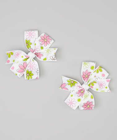 Love this Pink Flower Cartwheel Bow Clip Set by Bubbly Bows on #zulily! #zulilyfinds