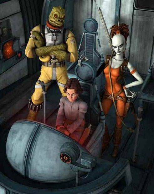 """Bounty hunters Bossk, Aurra Sing and Boba Fett from Cartoon Network's """"Star Wars: The Clone Wars."""" The characters are voiced by Dee Bradley Baker, Jaime King and Daniel Logan."""