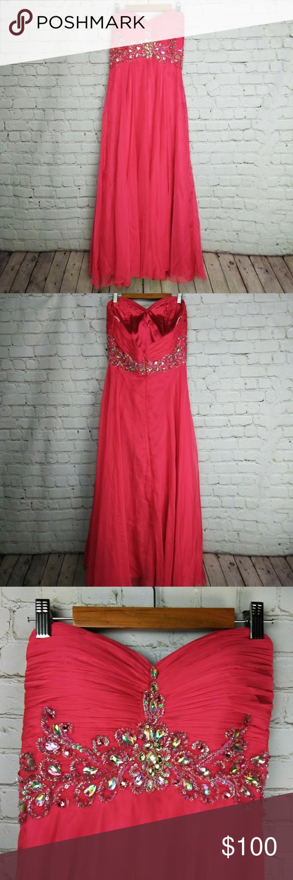 Cinderella rhinestone prom dress used gorgeous watermelon chiffon