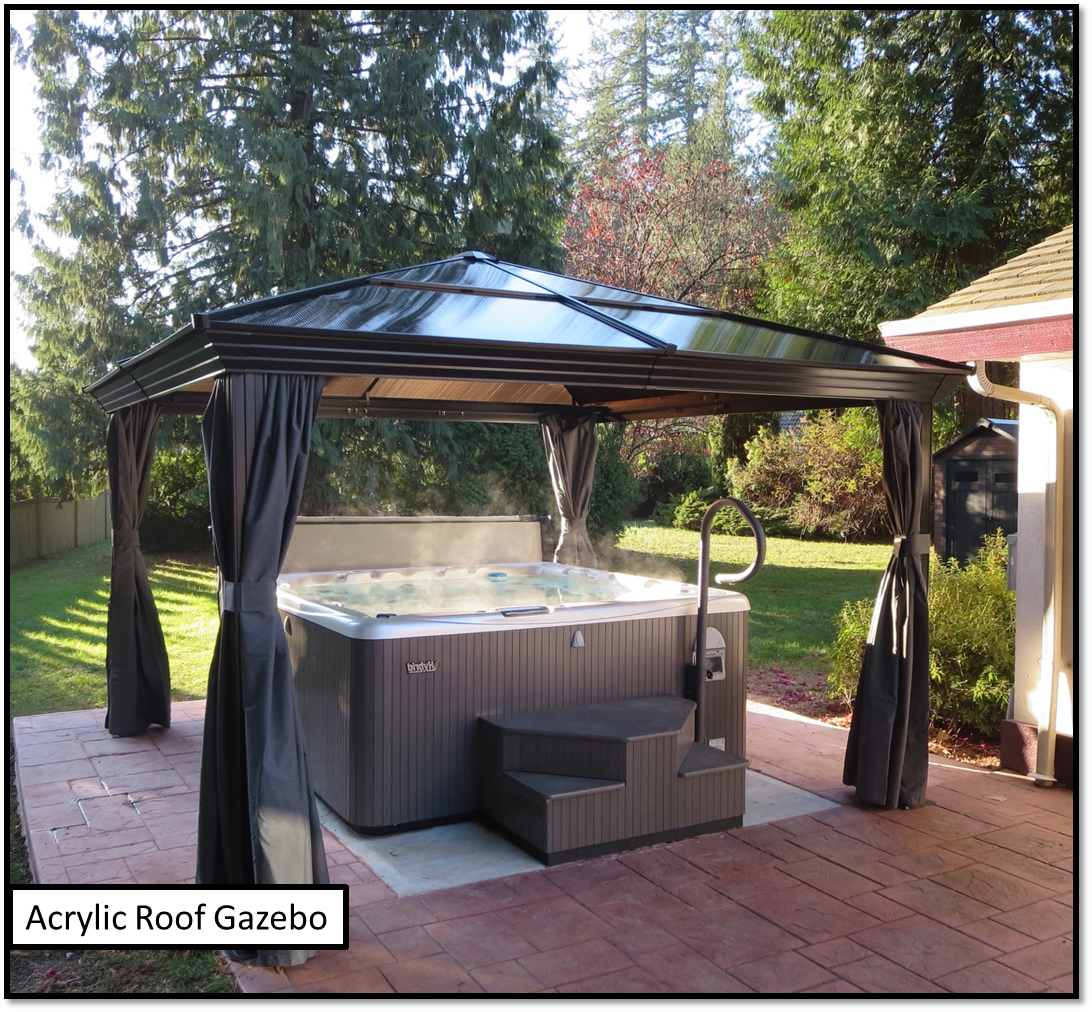 tub frame on shingles oak canopy cover gazebo canopies hot an cedar