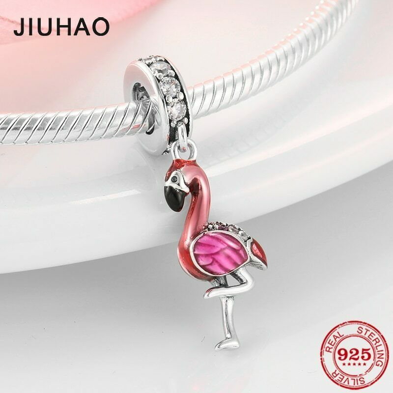 Tropical Bird Flamingo Charm Jewelry NEW 925 Sterling Silver Flamingo Necklace