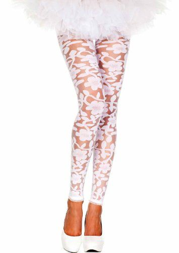 cb9acac3bb3af Music Legs Womens Floral Lace Footless Tights / Leggings (White ...