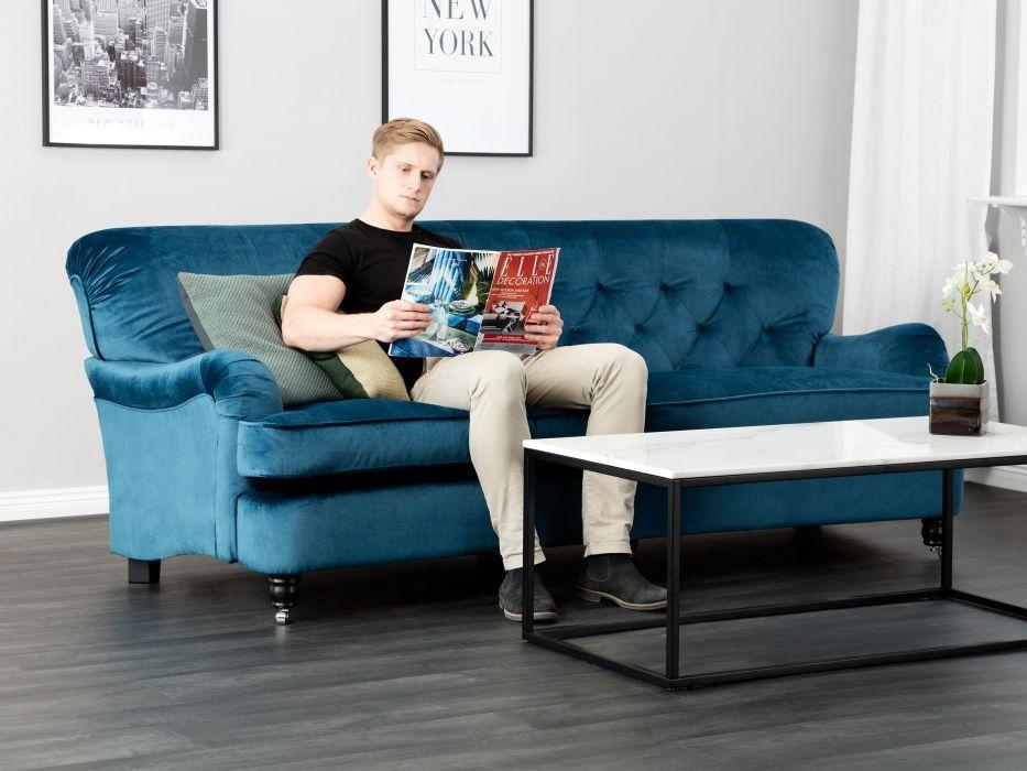 TILBURY Svängd 3 sits Soffa Blå Howardsoffor Soffor Inomh Inspiration från Furniturebox