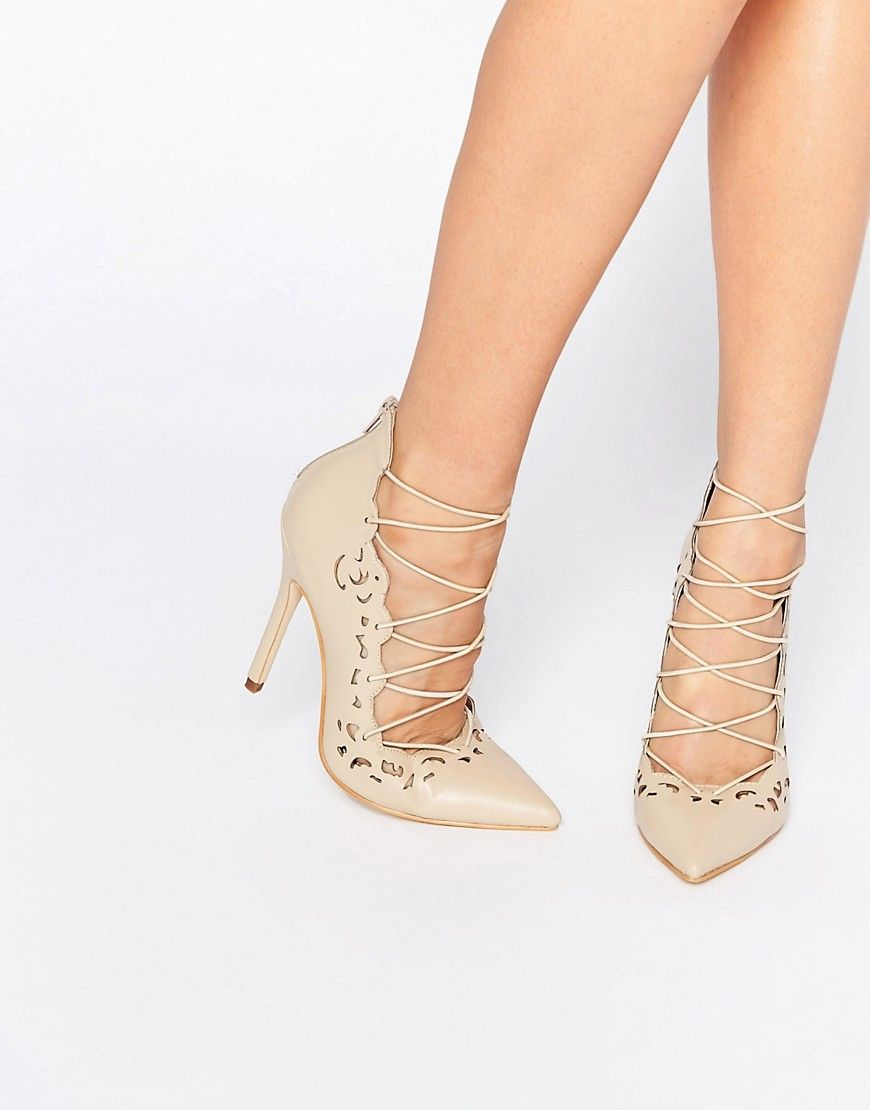 7cd62839f4e Image 1 of Public Desire Una Nude Lace Up Heeled Shoes